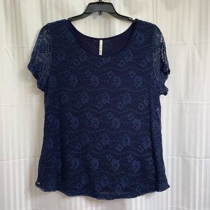 Leo & Nicole Navy Short Sleeve Lace Top XXL